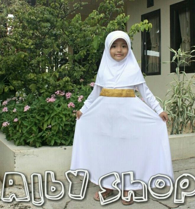 Baju Muslim Gamis Anak Perempuan List Gold Warna Putih