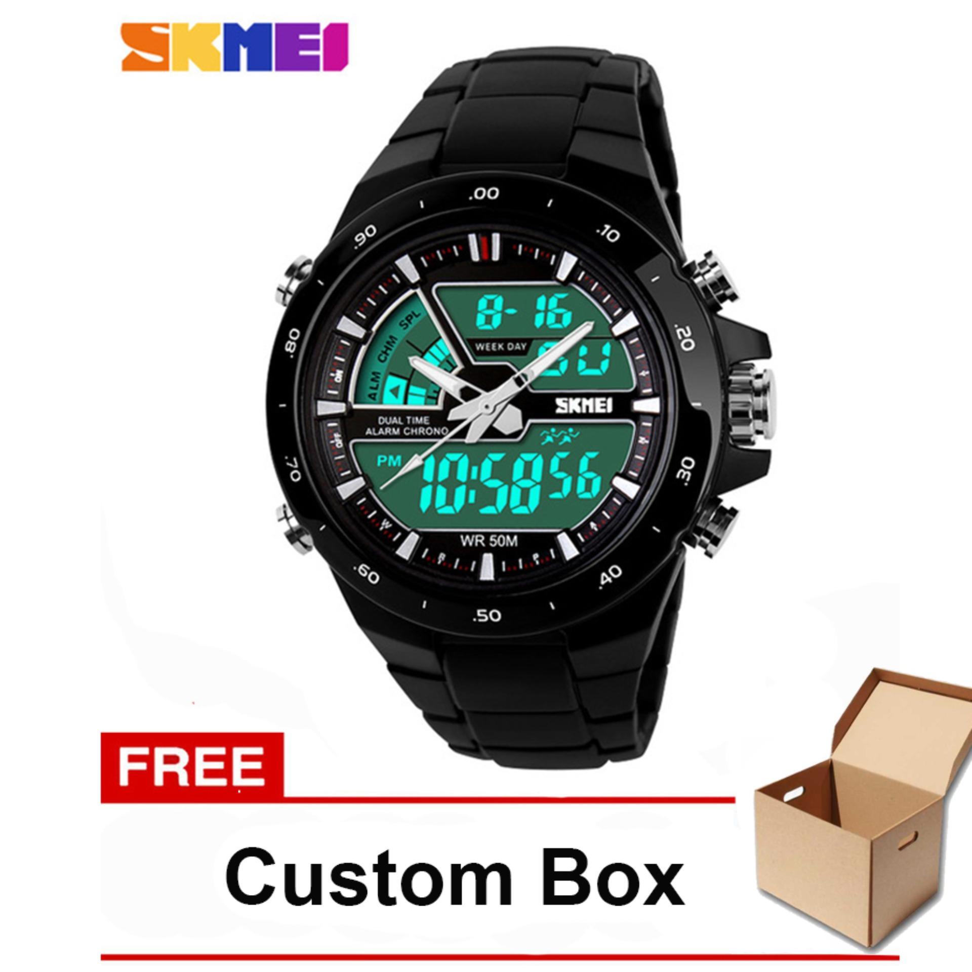 SKMEI Jam Tangan Pria Sport LED Dual-Time Waterproof Rubber Strap Wrist 1016 - Black