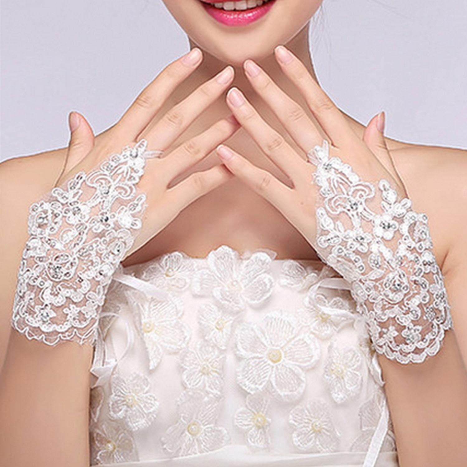 Women Bridal Lace Fingerless Dress Gloves With Shiny Beading Detail For Wedding Party Prom Performance By Duha.