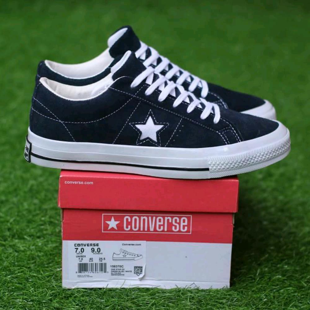 Promo Sepatu Converse one star ox suede dressblue sneaker casual pria premium Diskon