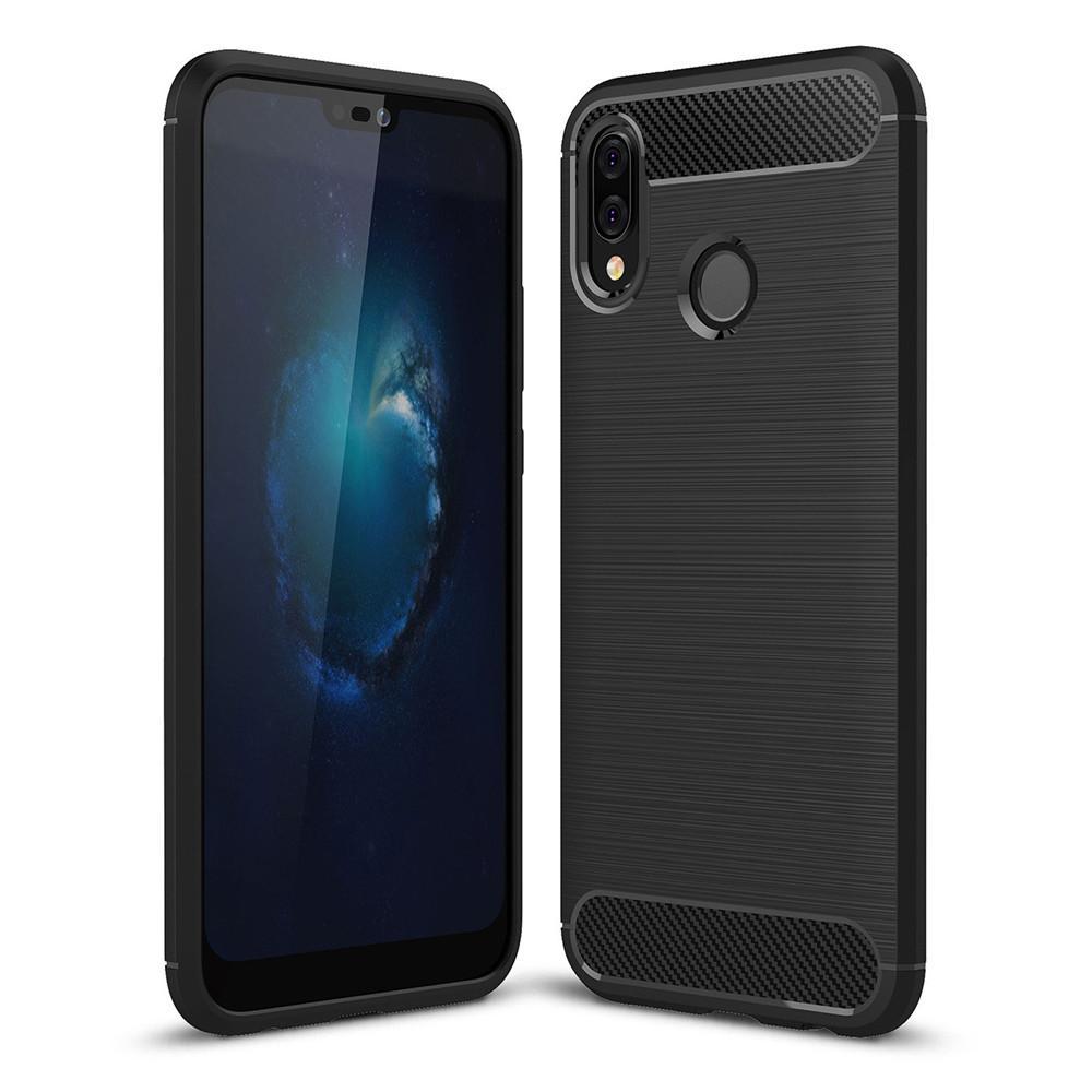 Lenuo Karbon Serat Silikon Gosok Anti Benturan Ponsel Sampul Belakang TPU Lembut Case Anda Huawei P20 Lite And Nova 3E