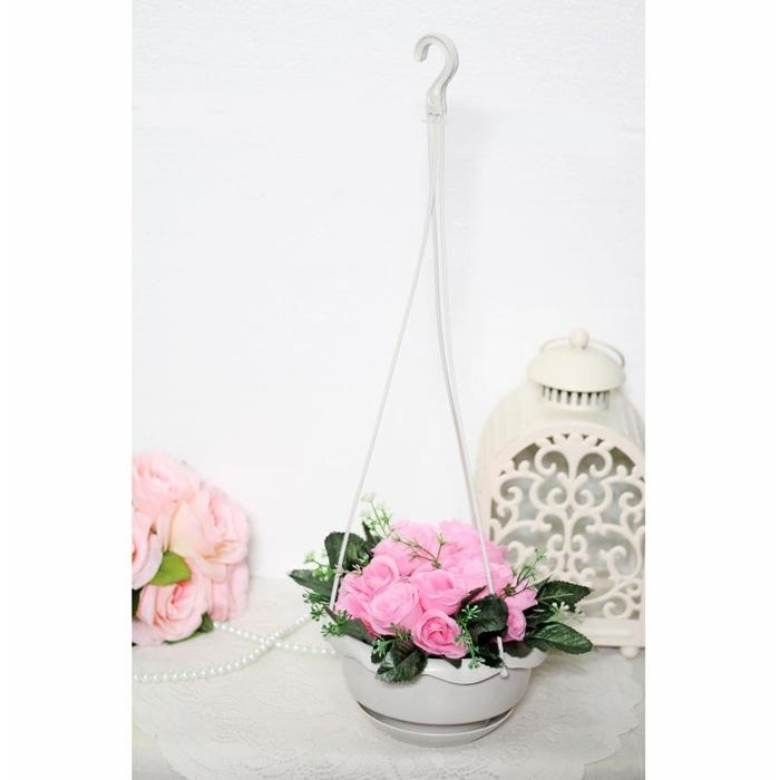 bunga plastik hias artificial artifisial mawar + pot gantung shabby A4 - MztONI