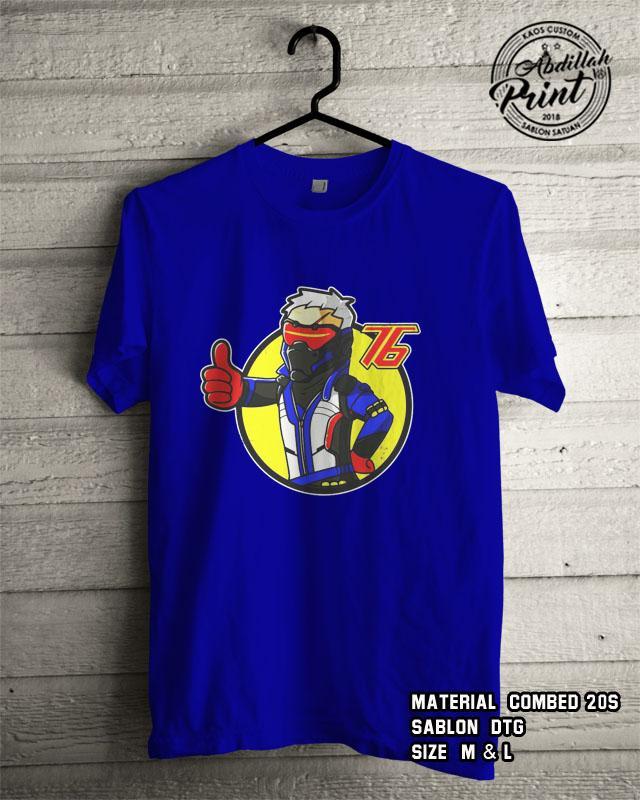 Kaos Distro Custom Design T Shirt Casual Atasan Pria Wanita Cotton Combed 20s Sablon DTG Quality Export - Superhero Marvels Dc - Soldier 76 - Blue