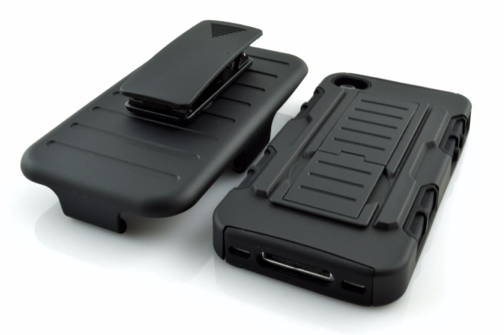 Belt Clip Kick Stand Armor Case iPhone 4 - 4s - Hitam - 2