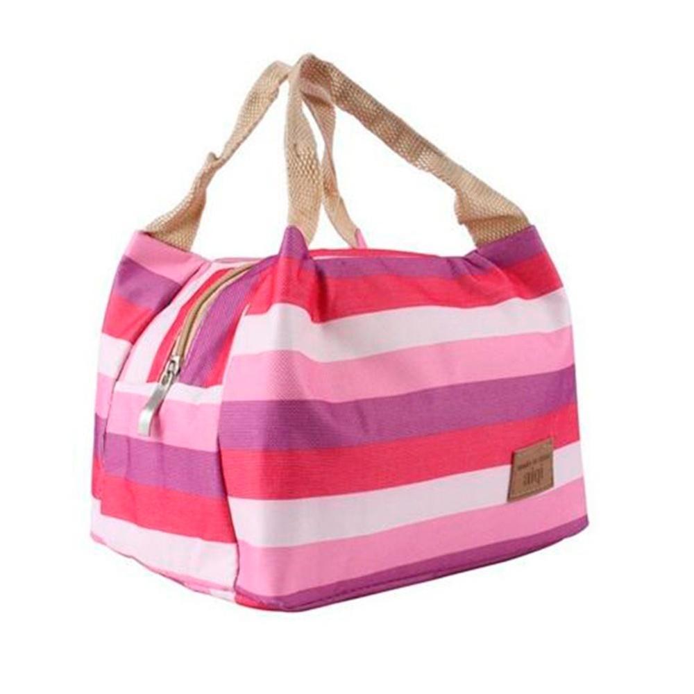 Lunch Cooler Bag motif Salur Kotak Tempat Makan Bekal Aluminium Foil Tas Tahan Panas - HOTPINK - EDW 005