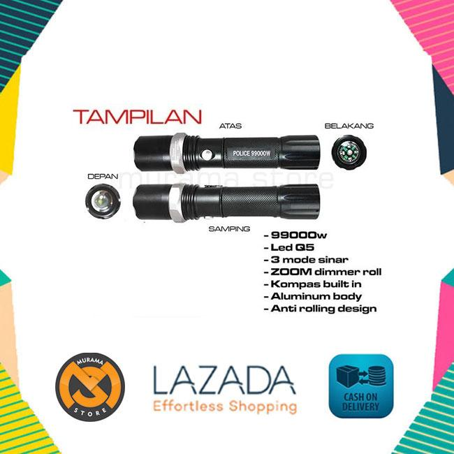 ... 2 POLICE SWAT Flashlight LED Senter Multifungsi Autofocus Kompas Dan Cone Lalin - 3 ...