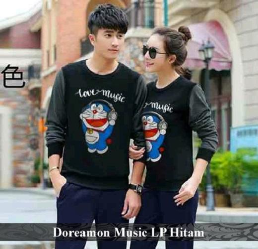LenganPanjang Baju Couple Lengan Panjang Kaos Pasangan Keren Doraemon Music Hitam