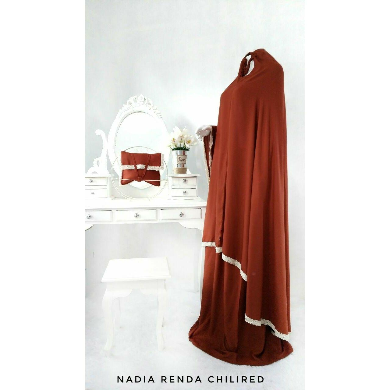 Mukena Muslim Dewasa Trendy Mewah Modern Katun Rayon Halus Nadia Renda