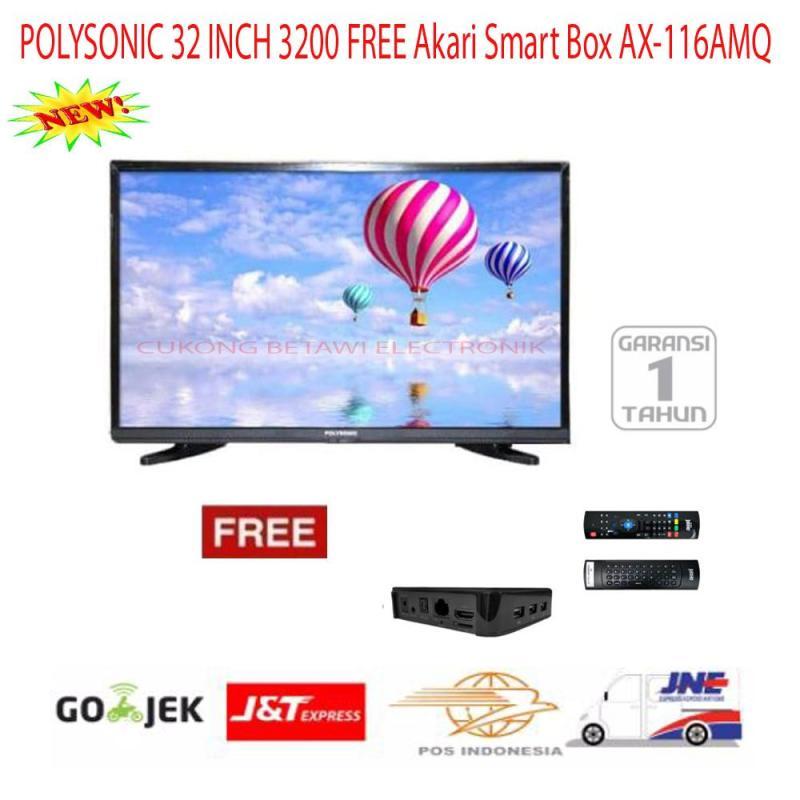 Paket Murah Polysonic LED TV 32 Inch 3200 Free Akari Smart Box-Promo