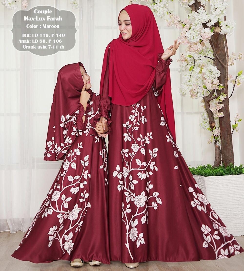 Gamis muslimah syar'i maxmara farah ibu dan anak . Couple