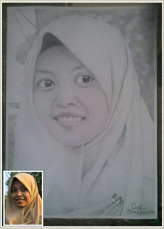 Sketsa wajah/lukis wajah keren dari pensil asli (CUSTOM A4-Bisa untuk foto dinding/kado Ultah/Nikahan/Wisuda)