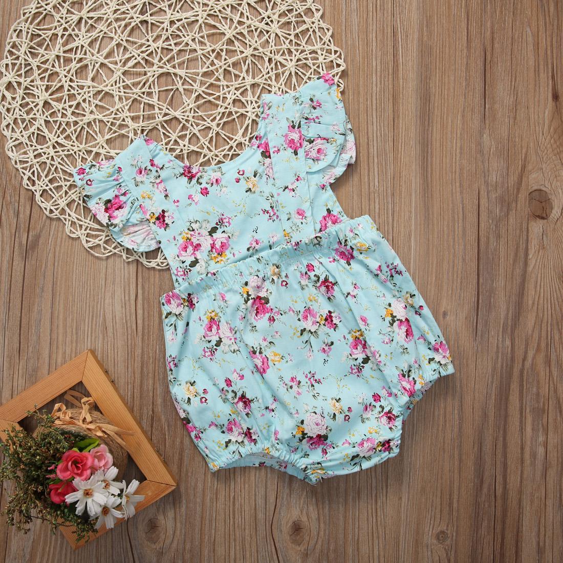 ... Baru Satu Kepingan Bayi Perempuan Bunga Musim Panas Baju Ruffled Jumpsuit Playsuit Bayi-Internasional ...