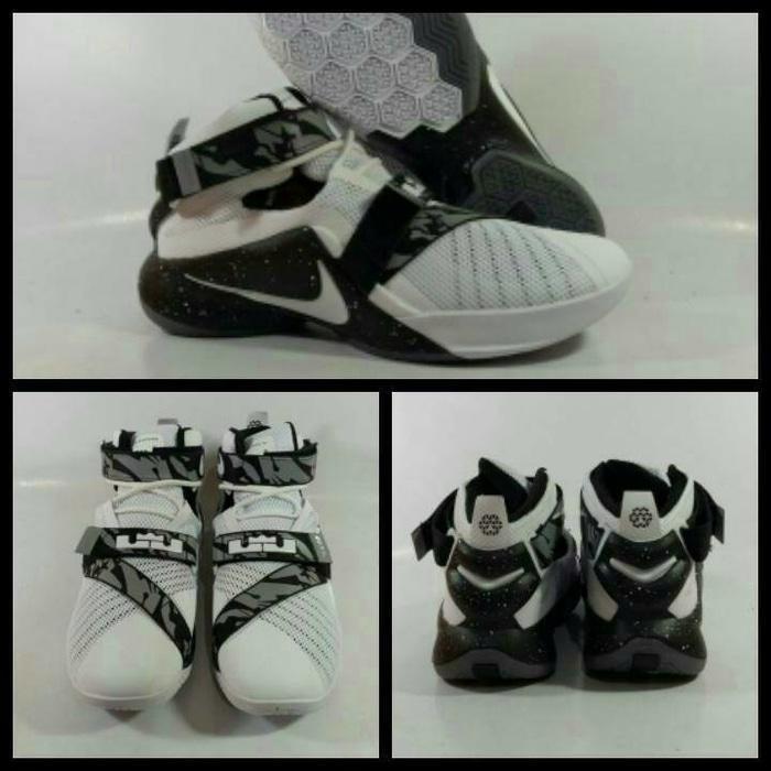 Sepatu Basket Lebron Zoom Soldier 9 Oreo / Curry / Jordan / Putih