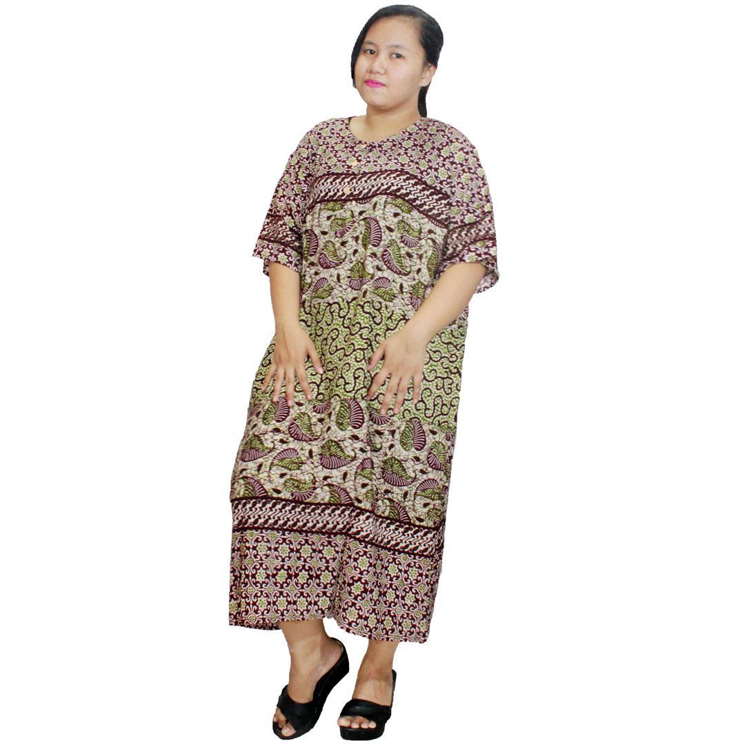 Daster Jumbo Lengan Pendek Batik, Baju Tidur Jumbo, Piyama Jumbo, Leher Kerut (DPT003-20) Batik Alhadi