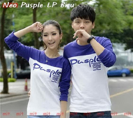 LenganPanjang Baju Couple Lengan Panjang Kaos Kembaran Simple Neo Pusple Biru