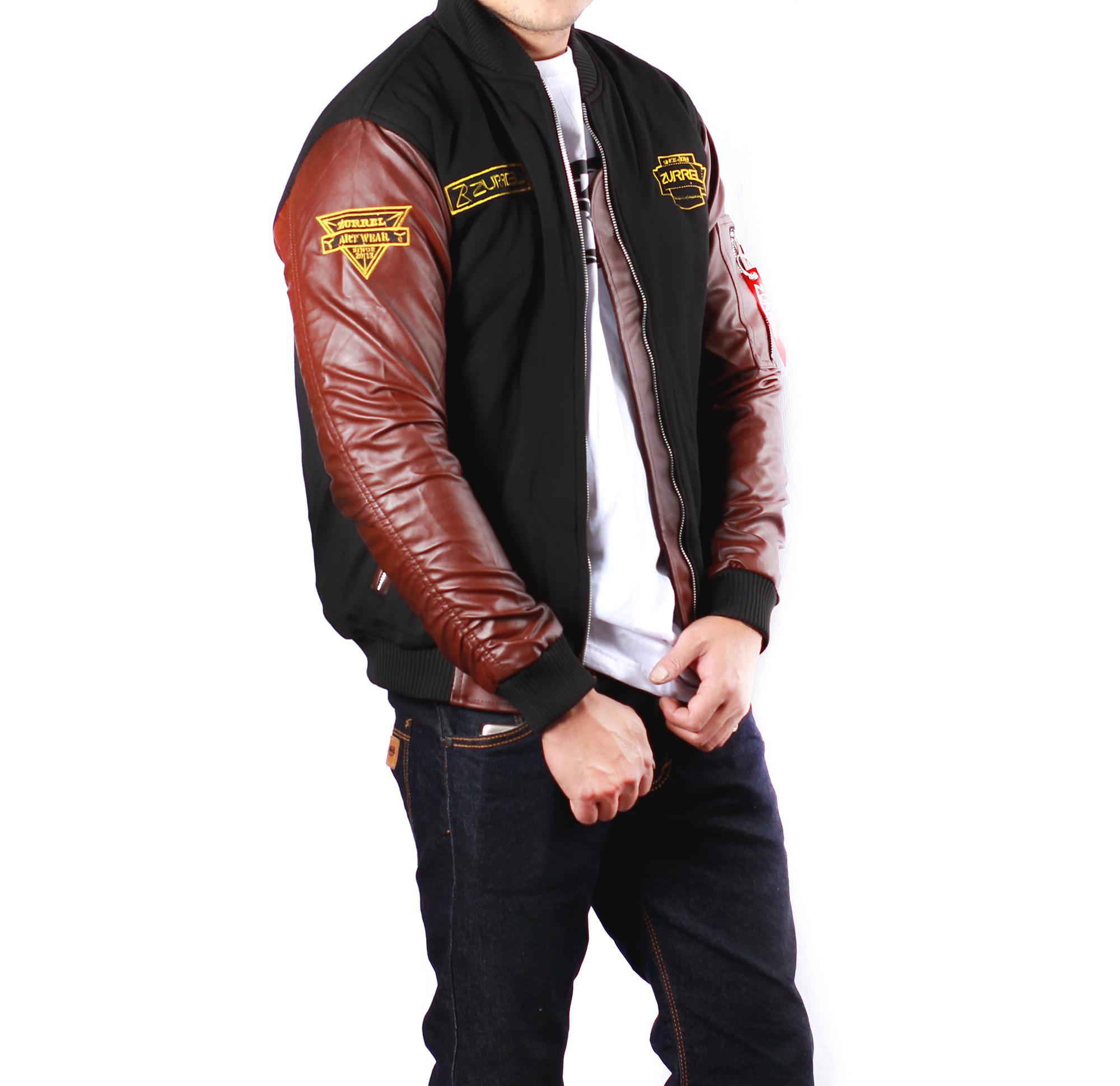 Jaket Pria Bomber Pilot Original Zurrel Kulit Combi Fleece  Black-Brown  1718055508