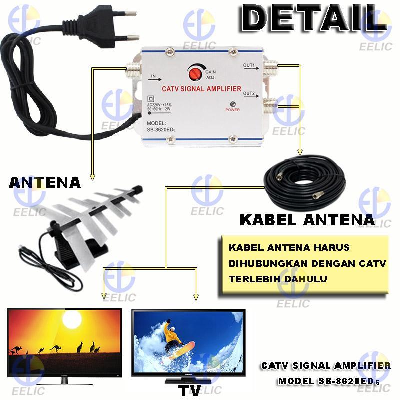 EELIC CSA-8620ED6 PENGUAT SINYAL 20 dB CATV SIGNAL AMPLIFIER TV TELEVISI BROADBAND 1 INPUT ...
