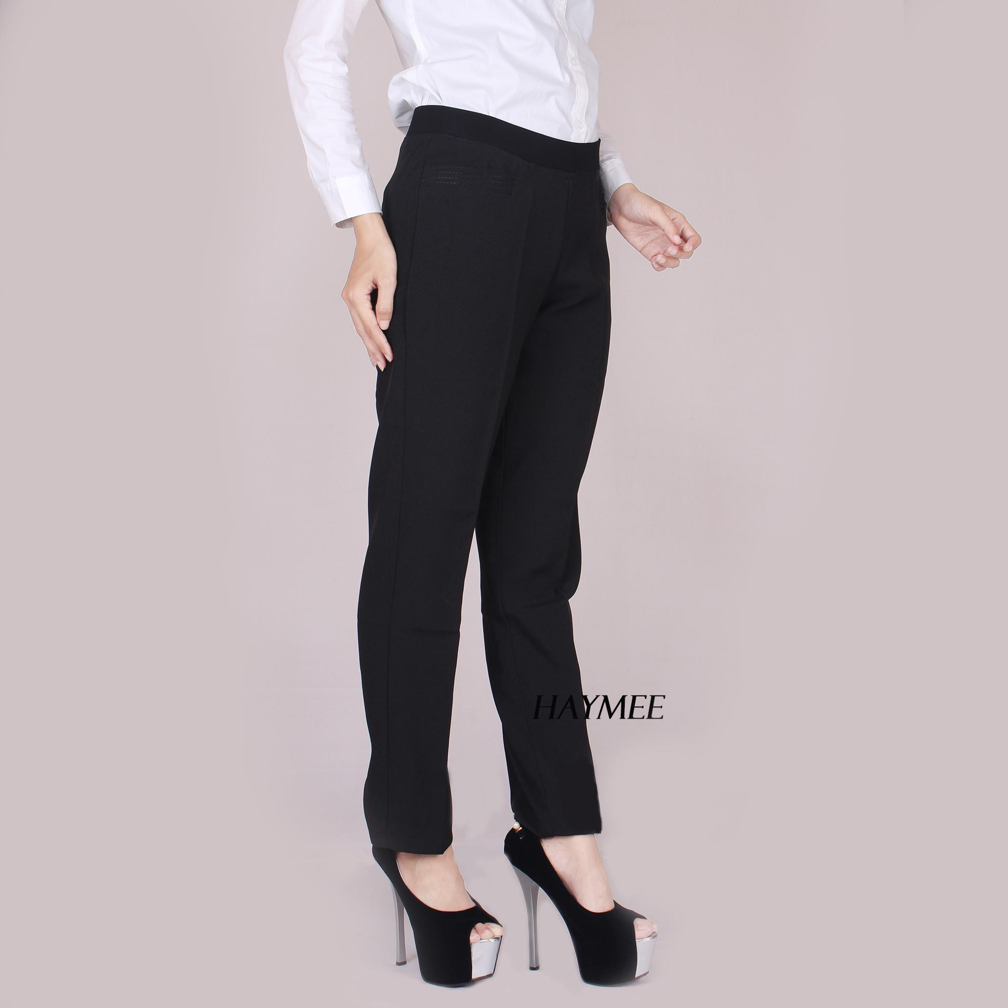 HaymeeStore Celana Kantor Wanita Pinggang Karet Celana Kerja Cewek Celana Formal Cewe Karet Keliling Premium Casual