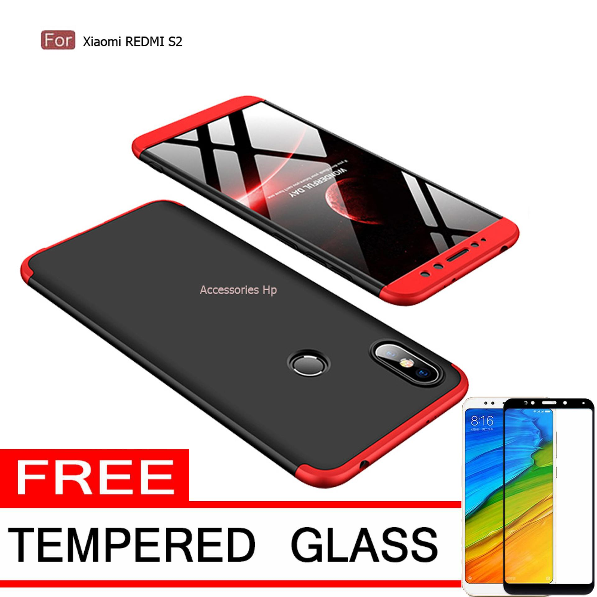 Accessories Hp CASE GKK Hardcase 360 Full Protective for Xiaomi Redmi S2 + Free Tempered Glass Warna Black