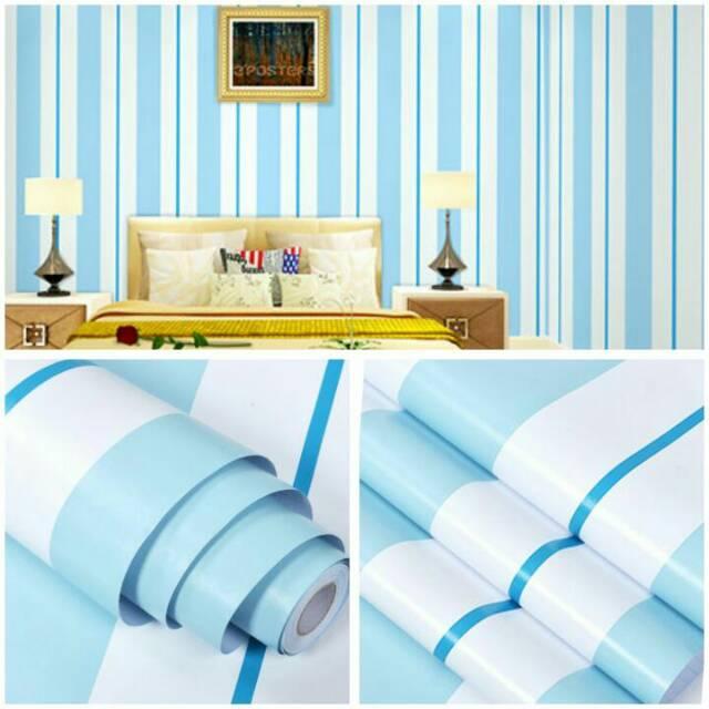 Wallpaper Dinding Murah Ruang Tamu Kamar Garis Biru Putih Terlaris Terbsgus Indah Elegan Minimalis