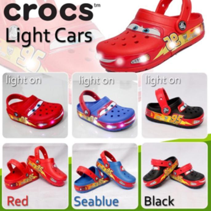 Sandal Sepatu Crocs Cars Led For Kids - Mvhnti