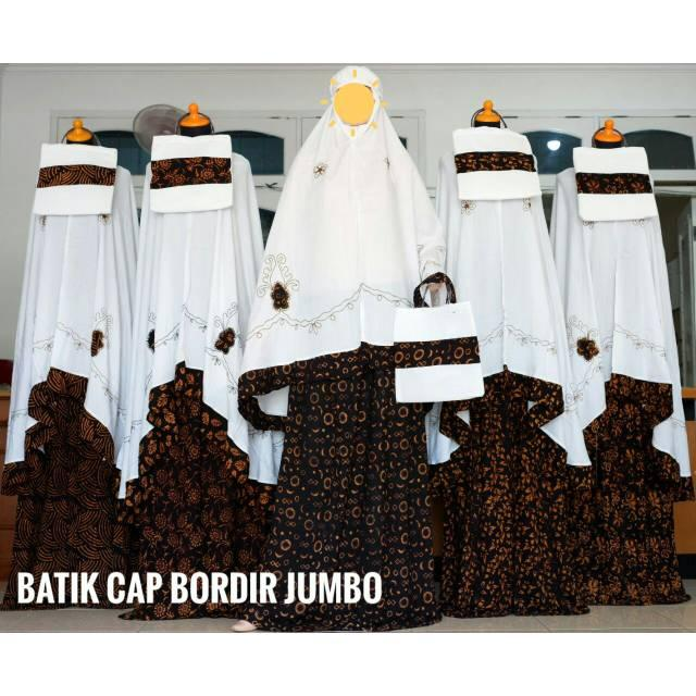 Mukena Rayon ECER-GROSIR motif Batik Cap Bordir Mukena Bali Rayon Jumbo Super No.1 Adem Murah ECER GROSIR KLIK 5 KALI