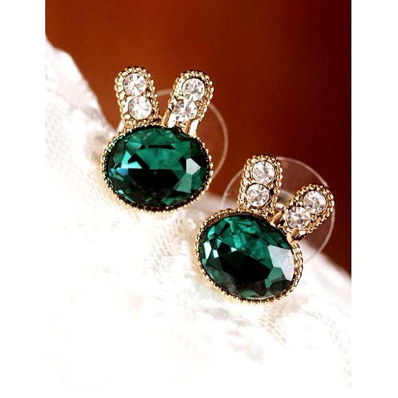 anting kelinci hijau berlian / diamond green rabit earrings JAN013