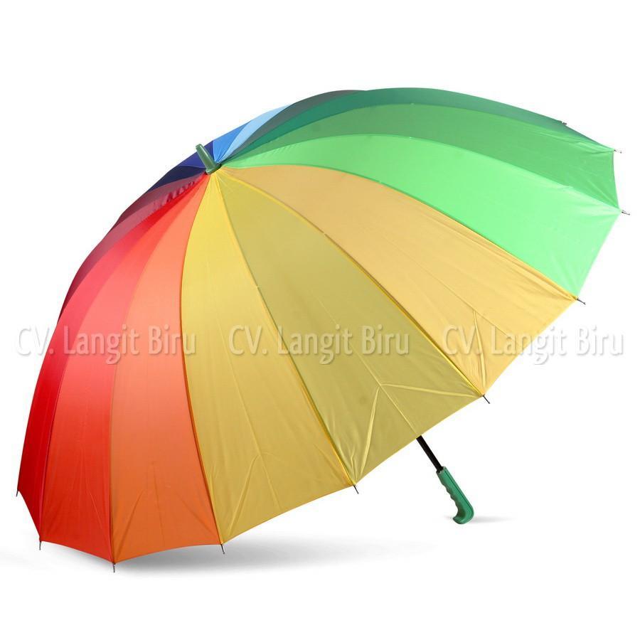OmBotak Payung Golf Pelangi Rainbow 16 jari. Jualan Besar Jumbo Umbrella