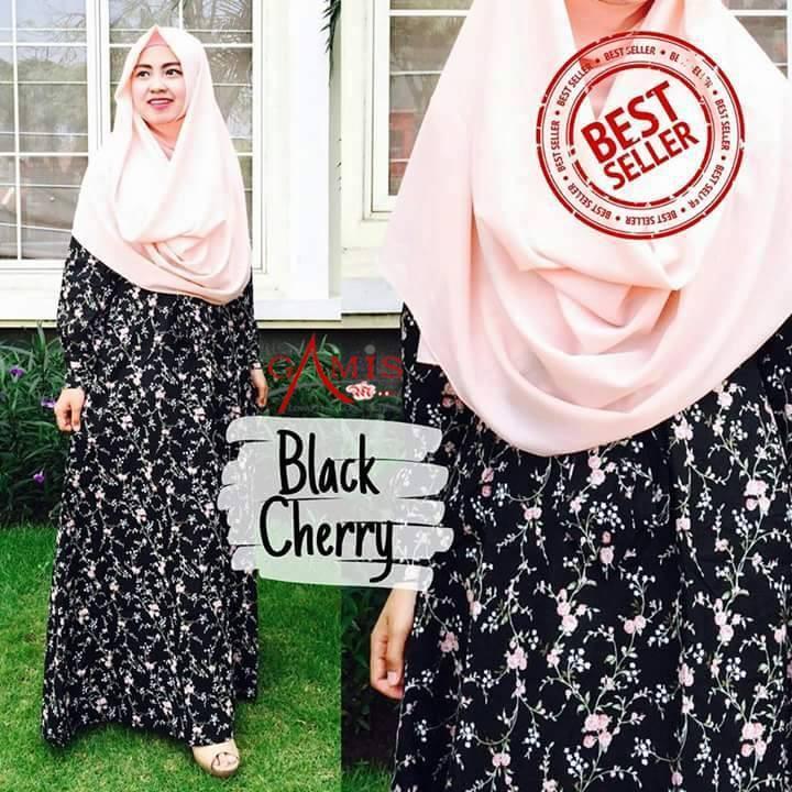 FLASH SALE: Promo Gamis Katun Jepang Black Cherry Original Murah Terbaru