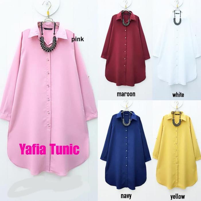 Baju Atasan Yafia Tunic Baju Muslim Blus Muslim - Maroon, XL / Baju wanita / baju murah / baju atasan wanita / Baju wanita murah / baju wanita jumbo / baju polos / baju wanita polos / baju pesta / kemeja wanita