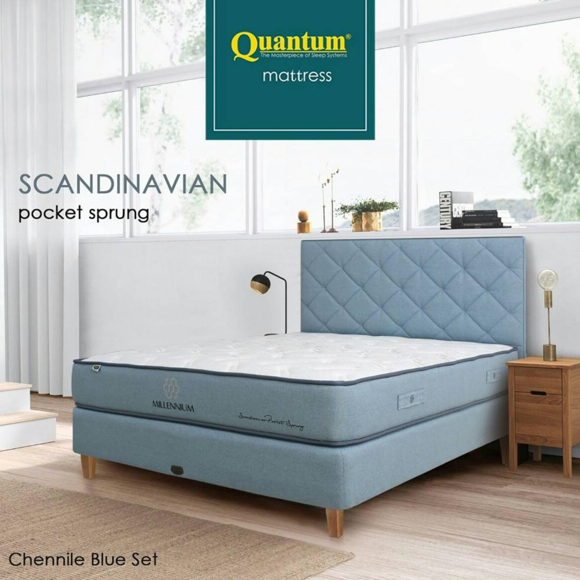 Quantum Springbed Millennium Scandinavian (Pocket Spring) HB Scandia Size 160 x 200 - Chennile Blue - Full Set - Putih - Khusus Jabodetabek