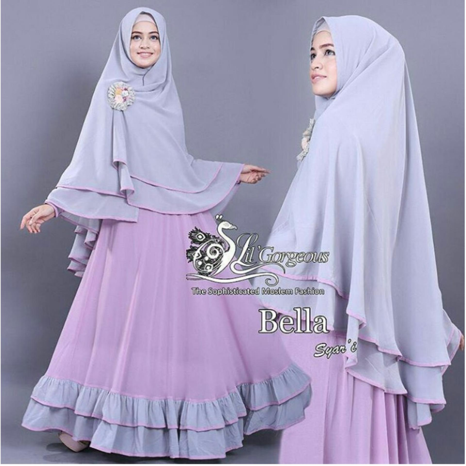 Baju Wanita Shop Baju Gamis Dress Muslim Syari Wanita EYYA Polos (LLABE) 1N - Lavender ( Dapat Jilbab ) / Hijab Muslimah / Baju Muslimah Wanita / Syari Syari'i Muslim / Gaun Muslim / Long Dress Muslimah Wanita
