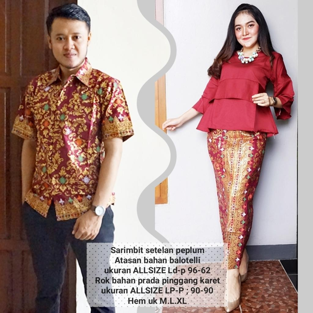 baju couple batik buat kondangan acara resepsi warna merah BSG606