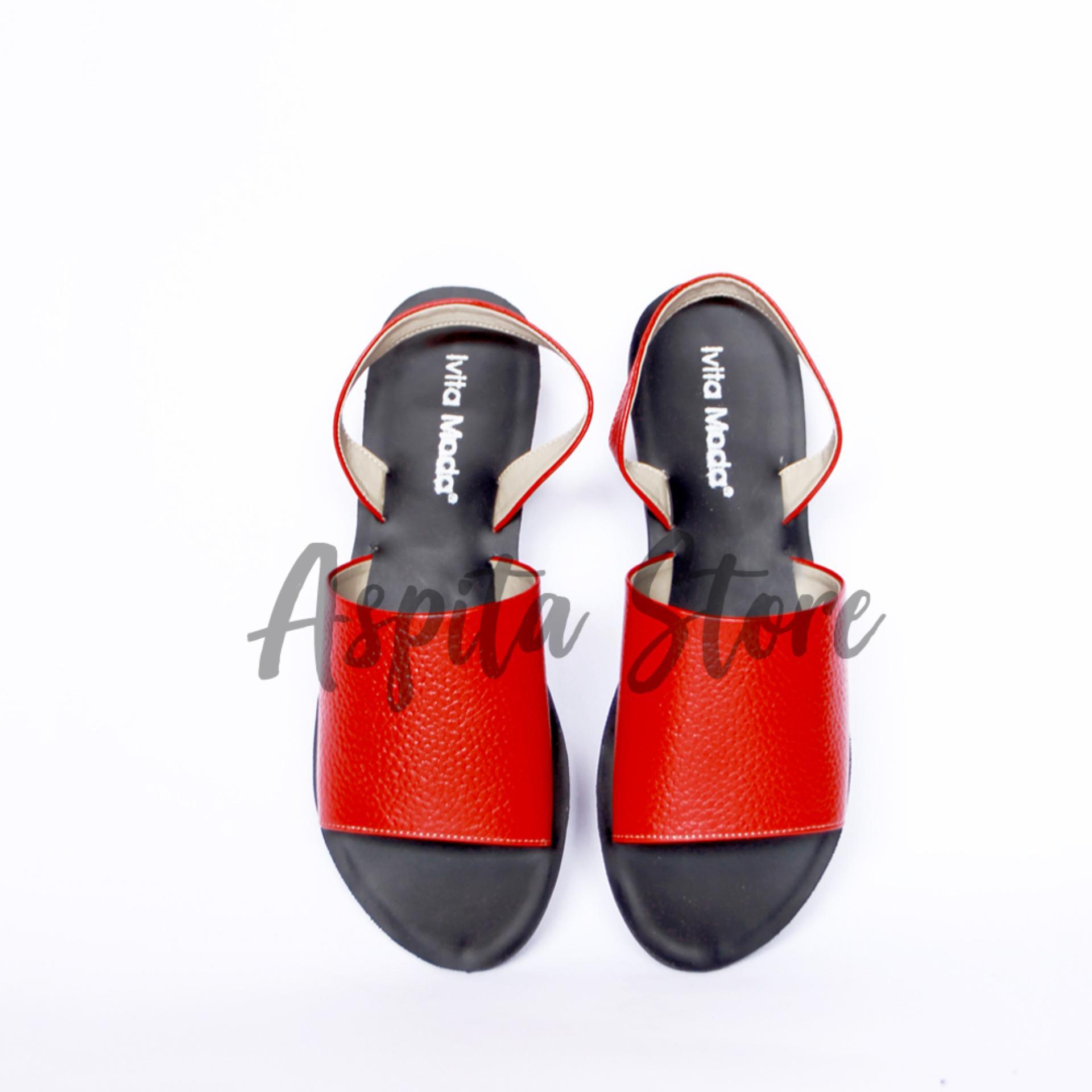 Sandal Kulit Sandal Tali Merah Wanita Trendy Asli Garut Premium Murah - Aspita Store