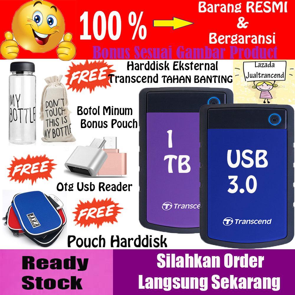 Transcend Harddisk External HDD 1TB Storejet 25H3B - BIRU + GRATIS Botol Minum My bottle + Otg Usb Reader + Pouch Harddisk Eksternal