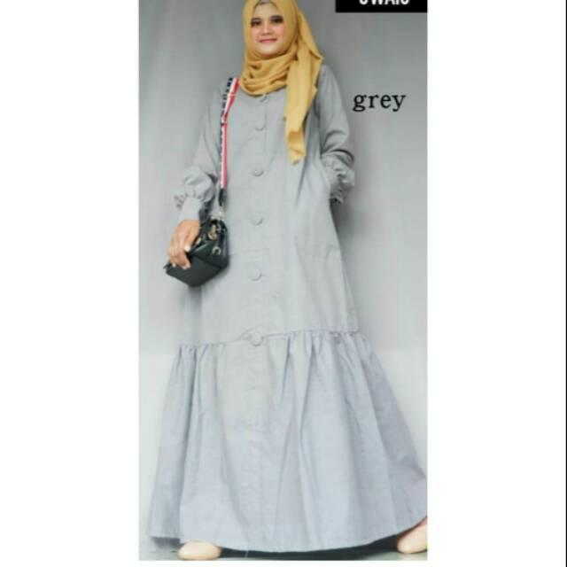 Toyobo dress gamis katun jepang polos busana muslim maxidress syari kancing Saku cotton fashionable m salem
