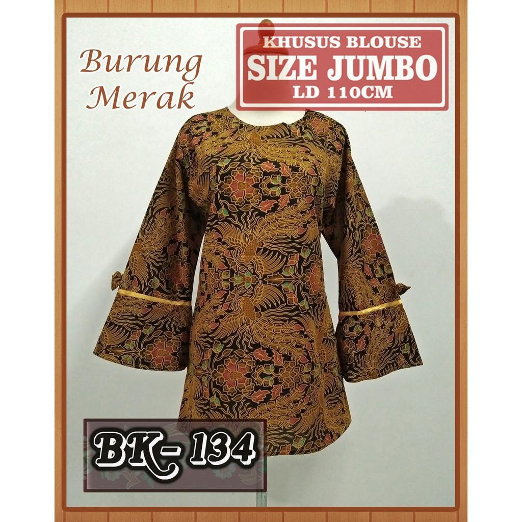 Blouse Batik Jumbo/ Atasan Batik Wanita Modern Jumbo / Kemeja Kerja Wanita Jumbo