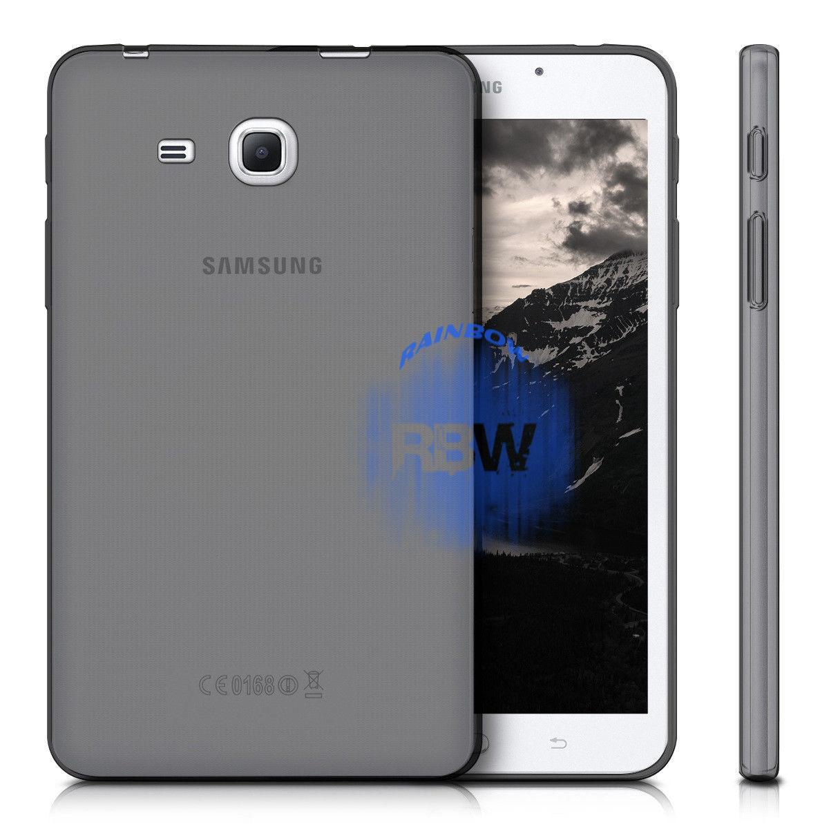 Rainbow Silikon Case Samsung Galaxy Tab A (2016) T280 T285 7.0 inch / Ultrathin Samsung Tab T285 / Jelly Case Samsung T280 / SoftCase Samsung Tab A 7.0 T285 / Silikon / Casing Samsung Tab T285 / Casing Samsung - Hitam Transparan