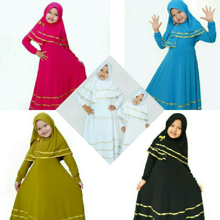 baju muslim gamis anak bagus warna putih hitam biru hijau Pink fanta
