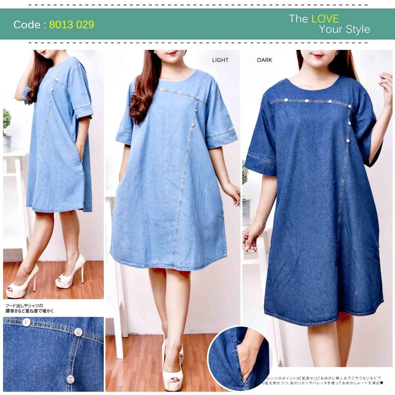 D.N.Y.H Shop CODE 3029 JEANS JUMBO / Baju Muslim / Kemeja Dress / Tunik / Atasan Wanita / Dress Wan