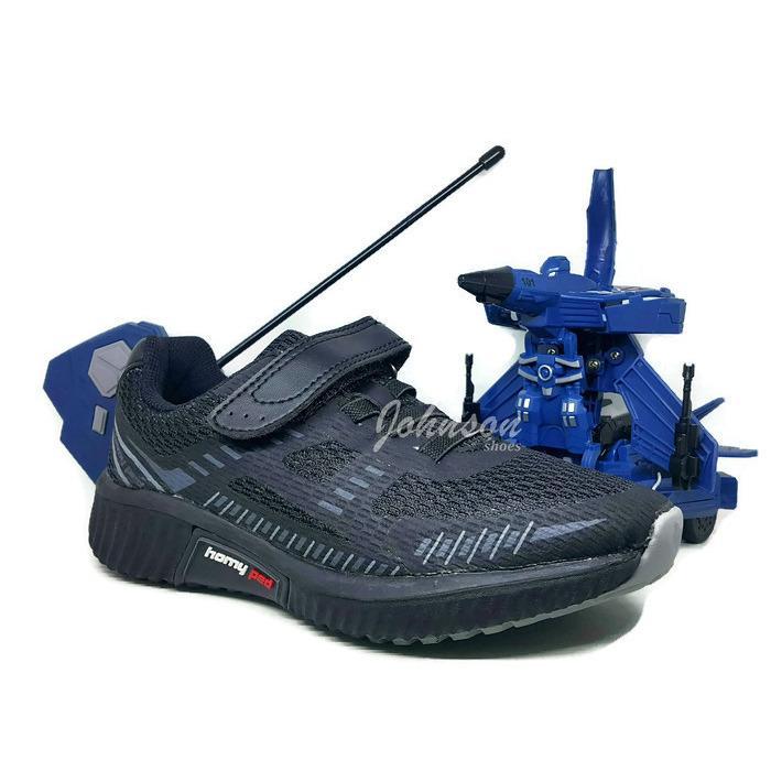 [ Johnson Shoes ] Sepatu Sekolah Anak HOMY PED - CHAMPION 02 Black 100% ORIGINAL BERHADIAH Mobil Mainan Remote JET TRANSFORMER