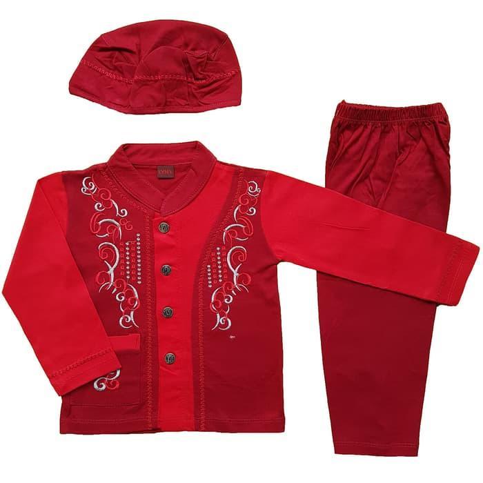 New Baju Muslim Koko (6-12 Bulan) Anak Bayi Laki-Laki Setelan Set Peci LY4 Promo