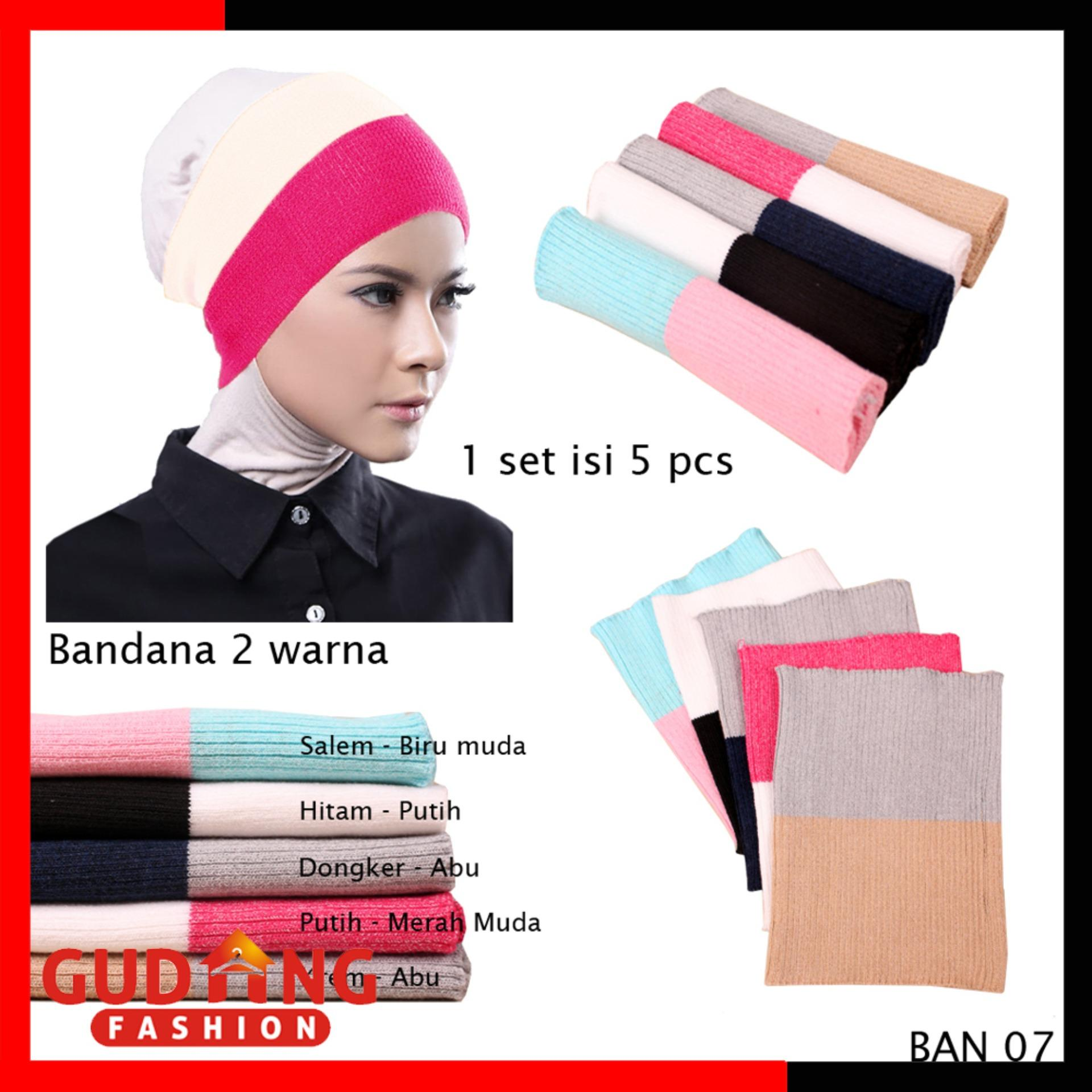 Gudang Fashion - Bandana Rajut Premium Polos 2 Warna Isi 5 Pcs - Kombinasi Warna