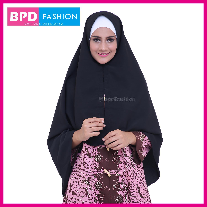 Hijab Kerudung Jilbab Instan Plain Nayla Jilbab Wolfis Premium Ukuran L WARNA HITAM