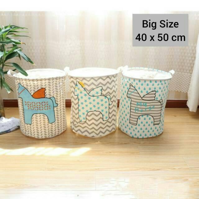 Hf73 Keranjang tempat baju kotor laundry mainan bahan linen ukuran lebih besar motif unicorn