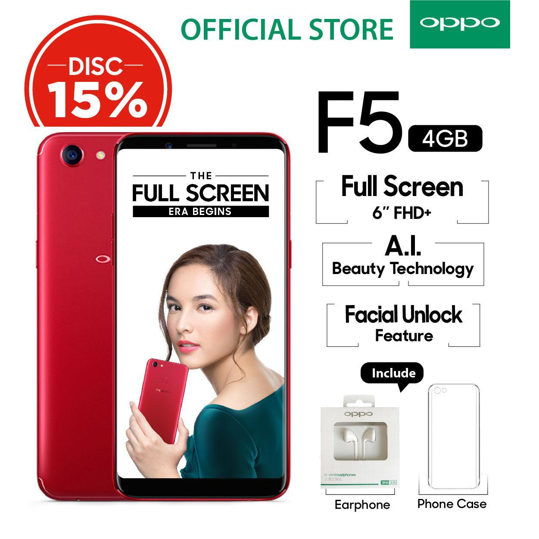 """Oppo F5 4GB/32GB Red – Smartphone Full Screen 6"""" FHD+ (Garansi Resmi Oppo Indonesia, Cicilan Tanpa Kartu Kredit, Gratis Ongkir)"""