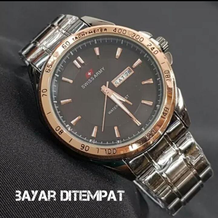 Swiss Army  Fashion Kasual - Jam Tangan Pria - Gold -  Strap Stainless Steel Fitur Tanggal Hari Aktif Rantai Terbaru