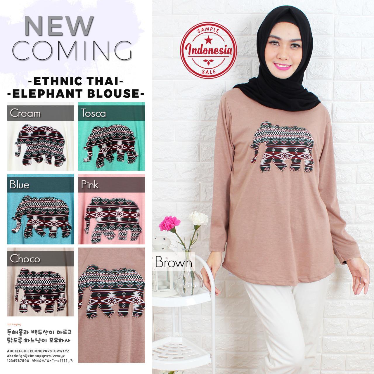 Kaos Muslim/Baju Muslim/Pakaian Muslim Wanita Motif Ethnic Gajah Thailand All Size