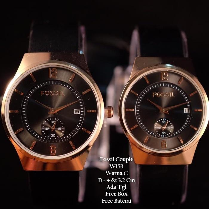 Jam Tangan Pasangan / Couple Murah Fossil Debara Black Ring Rose Color