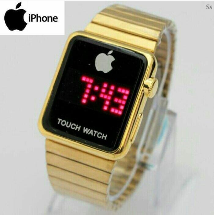 jam tangan led iphone termurah pria / wanita / jtr 1199 gold